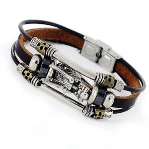 Men Alloy Bangle Multi-layers Leather Dragon
